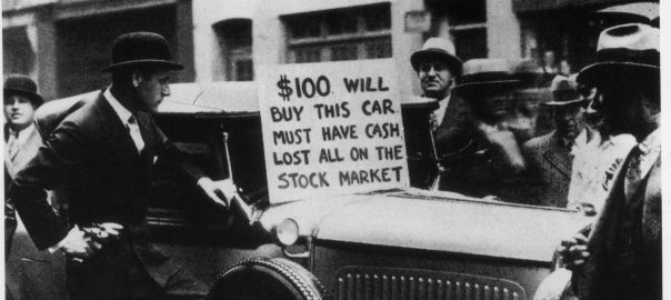 An American is trying to sell his car to recover the money lost in the Stock Exchange crash. New York, October 1929 (Photo by Mondadori Portfolio via Getty Images)