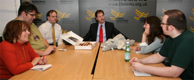 Bloggers and Nick Clegg (photo: Alex Folkes)