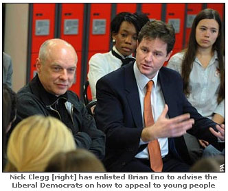 Brian Eno and Nick Clegg with da yoot