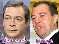 Nigel Farage and Dmitry Medvedev