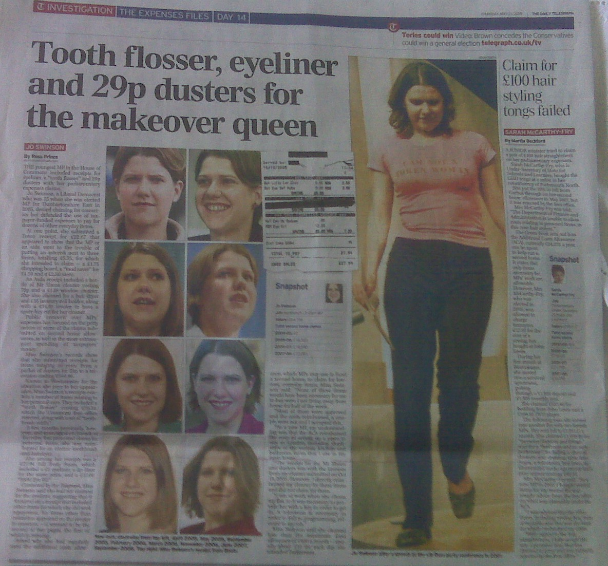 The print version of the Telegraph article on Jo Swinson