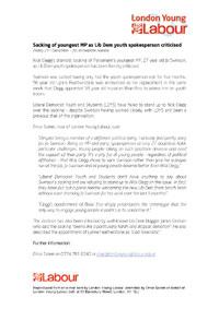 London Young Labour Press Release on Jo Swinson