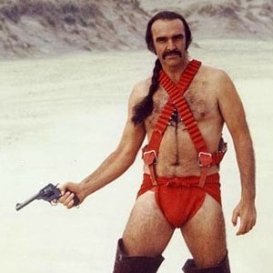 Sean Connery wearing an orange nappy in Zardoz